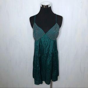 Free People Shooting Stars Green Stud Slip Dress M